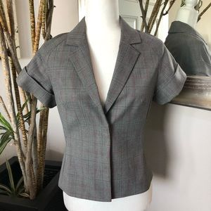 EXPRESS Short Sleeve Plaid Blazer Jacket
